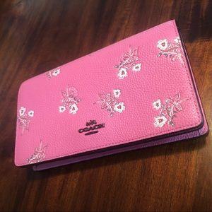 Pink Floral Coach Clutch w/ Removable Strap